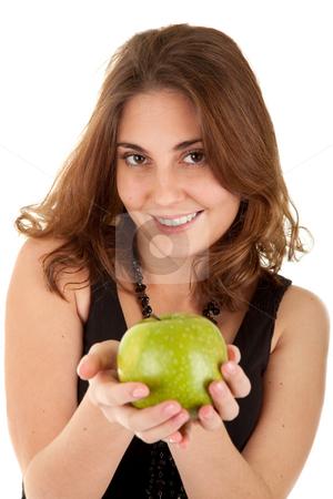 Beauty woman with fresh green apple  stock photo, Beauty woman with fresh green apple on white background. Focus on women's eyes. by Iryna Rasko