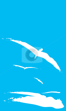 Seagulls stock vector clipart, Three Seagulls flying over the ocean waves. by Jeffrey Thompson
