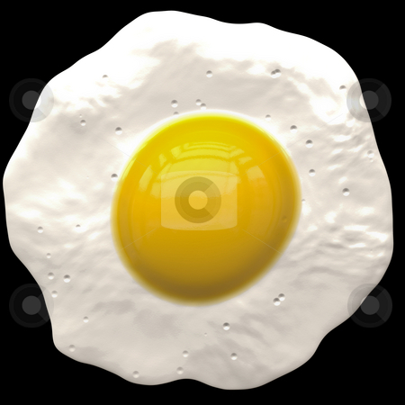 Fried egg stock photo, A large rendered fried egg on plain black background for easy cut out by Phil Morley