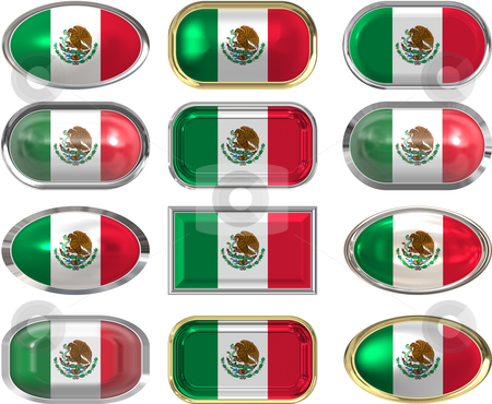 12 buttons of the Flag of Mexico stock photo, Twelve Great buttons of the Flag of mexico by Phil Morley