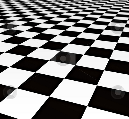 Black and white tiles stock photo, A large black and white checker floor background pattern by Phil Morley