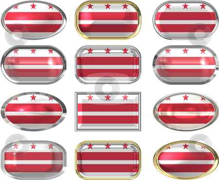 12 buttons of the Flag of Washington DC stock photo, Twelve Great buttons of the  Flag of Washington DC by Phil Morley