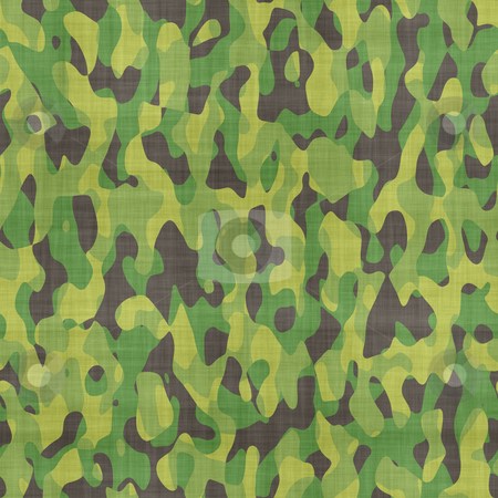 Camouflage material stock photo, Green and black camouflage material background by Phil Morley