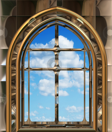 Gothic or scifi window with blue sky stock photo, Image of a gothic or science fiction window looking onto cloudy blue sky by Phil Morley