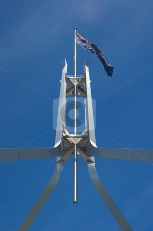 Australian flag stock photo, The iconic australian flag on top of parliament house canberra by Phil Morley
