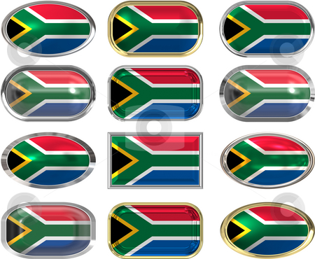 12 buttons of the Flag of South Africa stock photo, Twelve Great buttons of the Flag of South Africa by Phil Morley