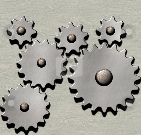 Clockwork stock photo, Image of metal clockwork gears on metallic background by Phil Morley