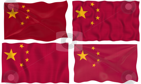 Flag of China stock photo, Great Image on white of four Flags of China by Phil Morley