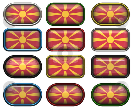12 buttons of the Flag of Macedonia stock photo, Twelve Great buttons of the Flag of Macedonia by Phil Morley
