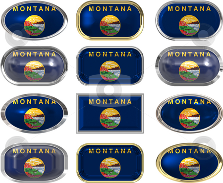 12 buttons of the Flag of Montana stock photo, Twelve Great buttons of the Flag of Montana by Phil Morley