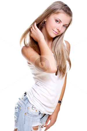 Beautiful woman in a jeans with dog tag stock photo, Beautiful woman in a jeans with dog tag on a white background isolated by Artem Zamula