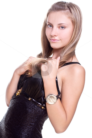 Beautiful woman in a black dress stock photo, Beautiful woman in a black dress on a white background isolated by Artem Zamula