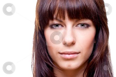 Beautiful woman face stock photo, Beautiful woman face on a white background isolated by Artem Zamula