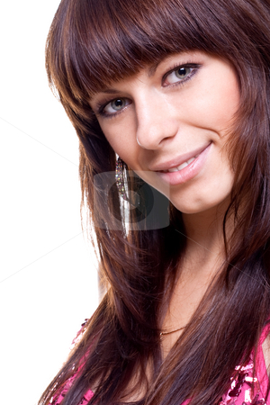 Beautiful woman face stock photo, Beautiful woman face on a white background isolated by Artem Zamula