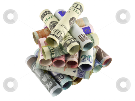 Money pyramid  stock photo, The stylised pyramid from the money of the various countries curtailed into tubules. Isolated on white. by Aleksandr Volokov