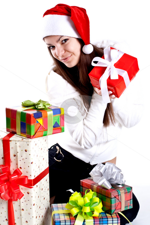 Beautiful woman with holiday gift stock photo, Beautiful woman with holiday gift on a white background by Artem Zamula