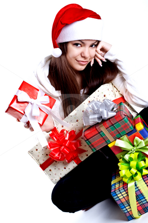 Beautiful woman with holiday gift stock photo, Beautiful woman with holiday gift on a white background by Artem Zamula