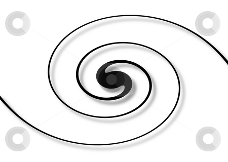 Spiral White stock photo, Balck spiral with shadow on a white background by Henrik Lehnerer