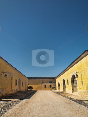 Big yellow house stock photo, Big yellow house with an empty  alley in France under pure blue sky by Laurent Dambies