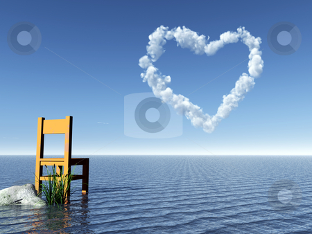 In love stock photo, Lonely chair in water and heart symbol in the sky - 3d illustration by J?