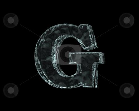 Frozen letter G stock photo, Frozen uppercase letter G on black background - 3d illustration by J?