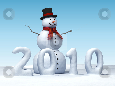 Snowman 2010 stock photo, A smiling snowman with numbers of the year 2010 made of snow by Martin Ivask
