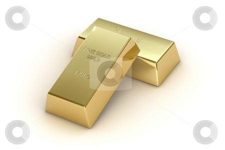 Gold bars stock photo, 1 kg gold bars, isolated on white background by Martin Ivask