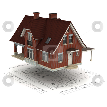 House with plan stock photo, A house raised above the floor plan, isolated on white background by Martin Ivask