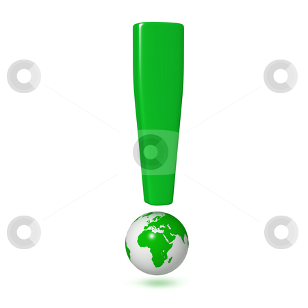 Exclamation mark earth stock photo, Exclamation mark with symbol of the earth, isolated on white background by Martin Ivask