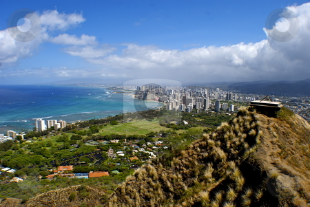 Diamondhead stock photo, View from Diamondhead, overlooking Waikiki by Timothy Barron