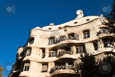 Casa Mila, Barcelona stock photo, Casa Mila, Barcelona, Spain, Europe. Horizontally framed shot. by Erwin Johann Wodicka