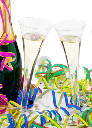 Champagne stock photo, Champagne bottle and glasses. Vertically framed shot. by Erwin Johann Wodicka