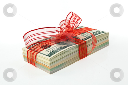 Money Tied with Ribbon stock photo, Pile of American currency tied with ribbon. Horizontally framed shot. by Erwin Johann Wodicka
