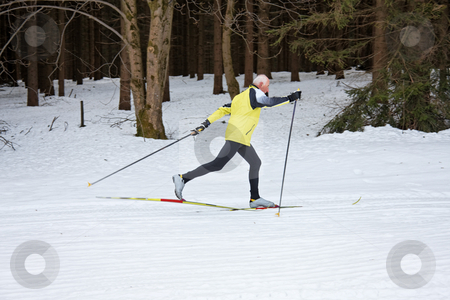 Senior Male Cross Country Skiing stock photo, Senior male cross country skiing. Horizontally framed shot by Erwin Johann Wodicka