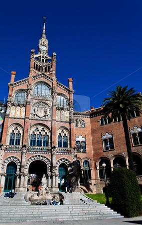 Hospital de Santa Creu of Gaudi, Barcelona, Catalonia, Spain, Europe stock photo, Hospital de Santa Creu of Gaudi, Barcelona, Catalonia, Spain, Europe.  Vertically framed shot. by Erwin Johann Wodicka