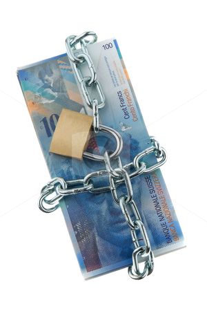 Locked Swiss Currency stock photo, Swiss currency with chain and lock. Vertically framed shot. by Erwin Johann Wodicka