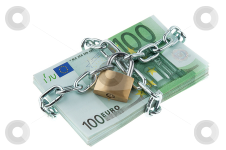 Locked European Currency stock photo, European currency with chain and lock. Horizontally framed shot. by Erwin Johann Wodicka