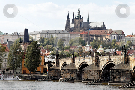 Charles Bridge in Prague stock photo, Charles Bridge with Prague Castle and Hradcany, Prague, Czech Republic, Europe. Horizontally framed shot. by Erwin Johann Wodicka
