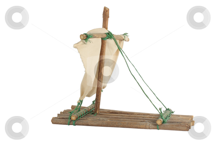 Hand made raft isolated over white background stock photo, Hand made raft isolated over white background by Nenad Curcic