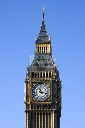 London Big Ben Clock Tower  stock photo, Close up of Big Ben Clock Tower, Westminster, London England on a sunny day with a blue sky by Darren Pattterson