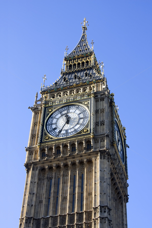 Big Ben clock tower stock photo, Big Ben clock tower, Westminster, London England against a blue sky by Darren Pattterson