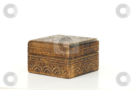 Trinket Box stock photo, Closed trinket box isolated on white background. by Tammy Abrego