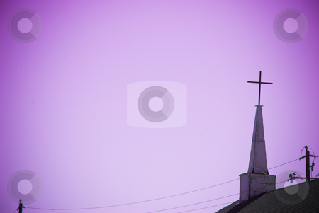 Church Steeple stock photo, Unique old steeple with cross on church by Tammy Abrego