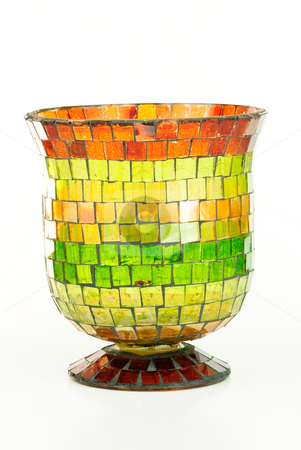 Mosaic Vase stock photo, Colorful mosaic vase on white background. by Tammy Abrego