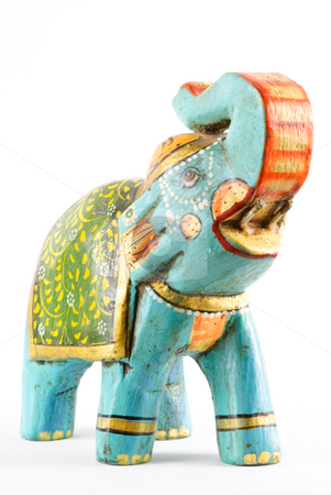 Elephant stock photo, Colorful elephant isolated on white background. by Tammy Abrego