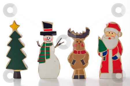 Christmas Characters stock photo, Tree, Snowman, Reindeer, and Santa; isolated on white background. by Tammy Abrego