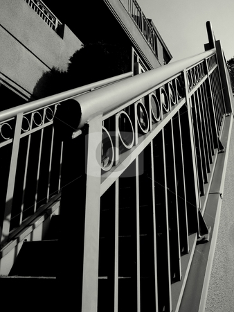 Staircase Railing stock photo, Railing leading up the steps to living quarters by Dawn Kelliher