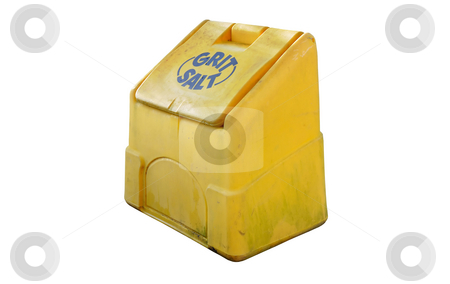 Road grit salt bin stock photo, Road grit / salt in a yellow plastic roadside container, isolated on a pure white background. by Rebecca Campbell