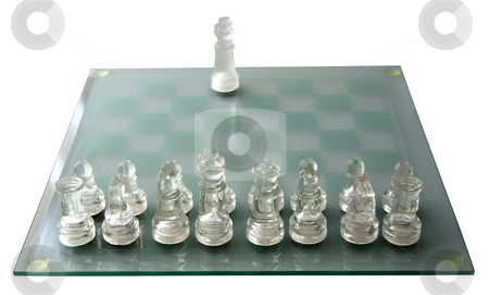 Many vs. One stock photo, Complete army of chess versus solitary king by Fabio Alcini