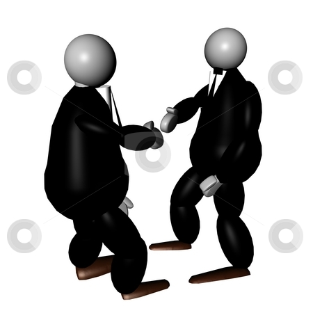 3D puppets shaking hands stock photo, 3D puppets in elegant suite and black tie shaking hands by Fabio Alcini